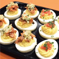 HALF & HALF - TRADITIONAL & BBQ DEVILED EGGS PLATTER