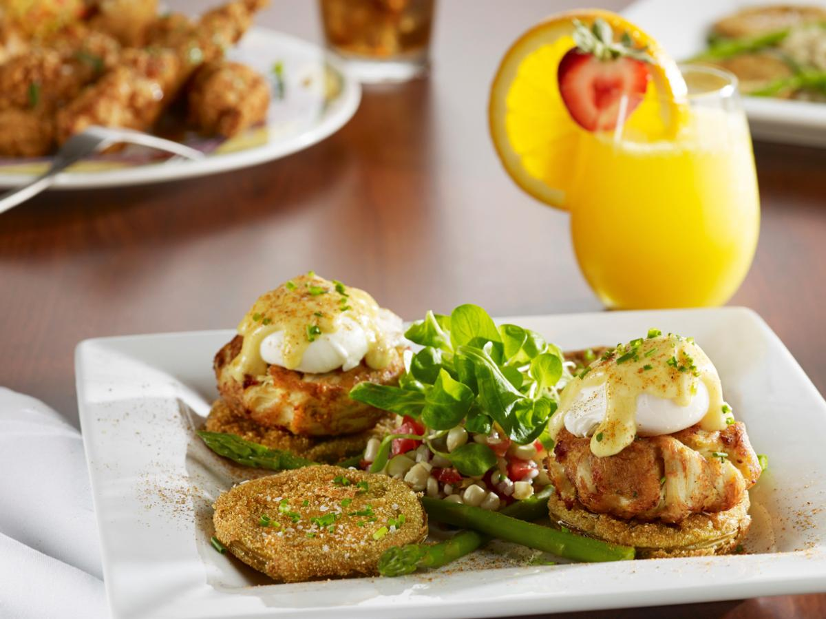 Miss Shirley's Signature Dishes - Crab Cake & Fried Green Tomato Eggs Benedict